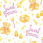 Watercolor seamless pattern with cat, toy bear and stars on white background.
