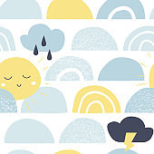 Cute baby seamless pattern with sun, rainbow and cloud. Vector childish background in scandinavian style.