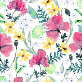 Watercolor seamless pattern with poppy, calendula, leaves, greenery. Wildflowers meadow.