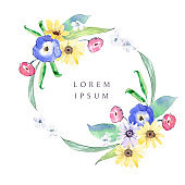 Watercolor wreath with wildflowers, pansies, calendula, leaves and grass.