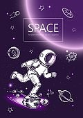Space background. Outline astronaut, planets, satellites, flying saucers. Astronaut is running in space.