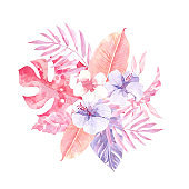 Watercolor tropical composition with flowers and leaves. Lilac and pink colors