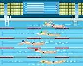 Male swimming racing in pool
