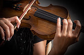 Woman playing the violin showing hands holding the bow