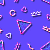 Neon seamless pattern with and 80s abstract arcade style