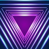 Bright neon triangle lines background