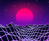 Neon grid landscape and sun with 80s game style