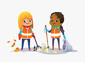Two girls wearing unoform collect rubbish for recycling at park. Kids gathering plastic bottles and garbage for recycling. Boy throws litter into bin. Early childhood education.Vector. Isolated