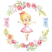 Watercolor Dancing Blond Ballerina Girl. Ballet Girl Surrounded by floral Frame and Ballet Shoes. Ballerina Wearing Pink Dress. Elegant Little Child Posing Training Ballet Collection Poster Design for Print. Watercolor Cartoon Illustration.