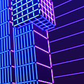 Neon background with ultraviolet 80s grid landscape