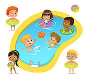 Pool party characters. Multiracial boys and girls wearing swimming suits and rings have fun in pool. African-American Girl standing with ball. Cartoon characters.  isolated.