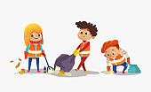 Two boys and girl wearing orange vests collect rubbish for recycling, Kids gathering plastic bottles and garbage for recycling. Early childhood education.Vector. isolated.