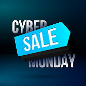 Cyber Monday discount poster with sale price tag for shop clearance