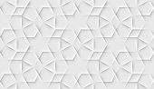 Seamless islam pattern with gloral tiled cells made from shadows and lights in origami style