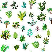 House plants seamless pattern.
