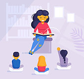 Woman reading a book to children in kindergarten or in the library Vector. Cartoon. Isolated art Flat