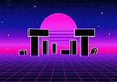 Neon landscape with 80s retro wave game style