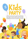 Joyous Multiracial kids in birthday hats and balloons happily jump. Cute rabbits, a bunch of presents on the background.  Illustration of a Happy Birthday Greeting Card or invitation flyer.
