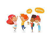 School children joyfully greet their friend with leg prosthesis. Amputee girl is glad to meet her classmates. Concept of happy meeting and true friendship. Vector illustration for poster, website