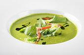 vegan green cream soup spinach