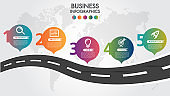 Business Infographic road design template with icons colorful pin pointer and 5 numbers options. Can be used for process presentations, workflow layout, diagram, banner.