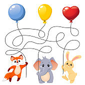 Animals flying with balloons. Puzzle. Maze game for kids. Find which animal holding which balloon