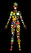 Set of fruit and vegetable icons forming woman`s body shape.