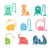 Set of icons for cleaning service tools.