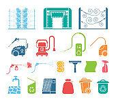 Set of car wash tools icons.