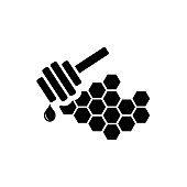 Honey icon. Flat vector illustration in black on white background. EPS 10