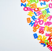 multicolored English alphabet letters on a white background