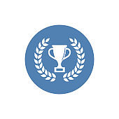 Champions cup with laurel wreath. Simple icon. Sign on white background