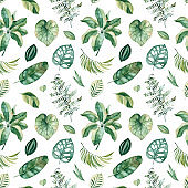 Pattern with green leaves,branches,palm leaf.