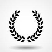 Laurel wreath Icon Vector. Simple flat symbol. Perfect Black pictogram illustration on white background.