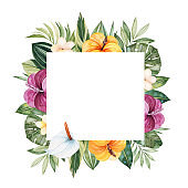 Pre-made frame border with multicolored flowers,leaves,palm leaf