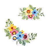 Colorful floral collection with multicolored flowers, leaves,branches,berries