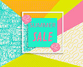 Poster picture summer sale-vector illustration. On a bright texture background painted hands of the community.