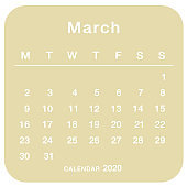 March 2020 planning calendar . Simple March 2020 calendar. Week starts from Monday. Template of calendar for March