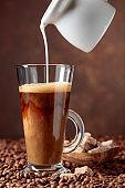 Coffee latte and brown sugar.