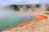 Bubbling geothermal Champagne Pool in Waiotapu, New Zealand