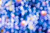 Blurred bokeh light background, Christmas and New Year holidays background. Colorful beautiful blurred bokeh background with copy space.