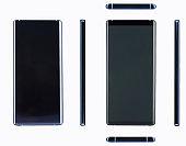 Modern dark blue smartphone with big screen