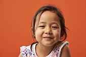 Portrait of serious asian little girl