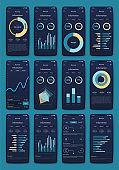 Vector graphics set mobile infographics. Stock vector
