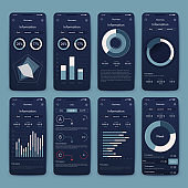 Vector graphics set mobile infographics. Stock vector