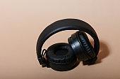 Folded black headphones