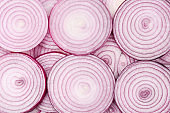 Onion slices as a background. Top view.