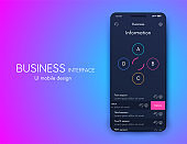 Vector graphics mobile infographics with four options. Template for creating mobile applications, workflow layout, diagram, banner, web design, business reports with 4 steps