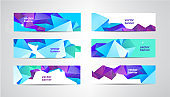 Vector Set of banners with polygonal geometric background, facet, low poly, triangles headers, covers
