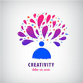 Vector creative team, imagination, art icon. Man, person thinking